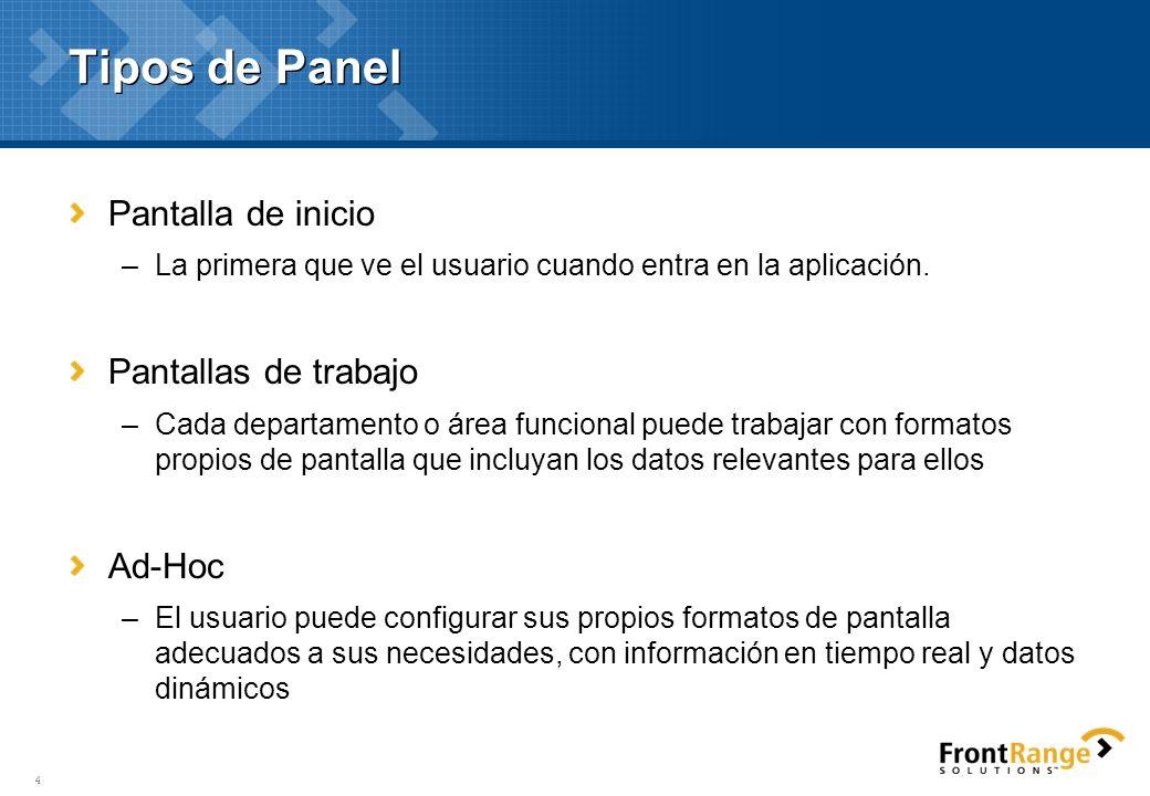 4 Tipos de Panel Pantalla de inicio –La primera que ve el usuario cuando entra en la aplicación. Pantallas de trabajo –Cada departamento o área funcio