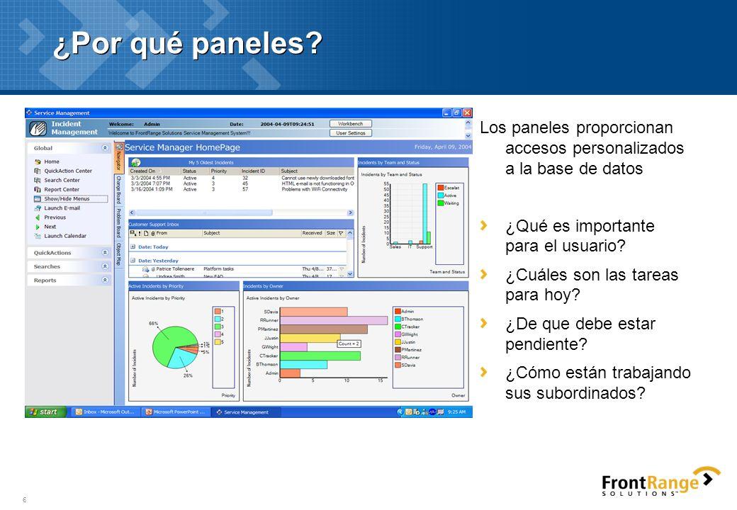 6 ¿Por qué paneles? Los paneles proporcionan accesos personalizados a la base de datos ¿Qué es importante para el usuario? ¿Cuáles son las tareas para