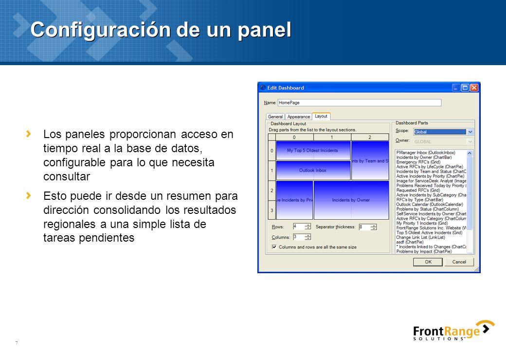 8 Elementos de un panel- Outlook Correo entrante –El usuario accede a su bandeja de entrada de Outlook desde dentro de la aplicación Calendario –El usuario puede ver y modificar su calendario desde dentro de la aplicación de FrontRange