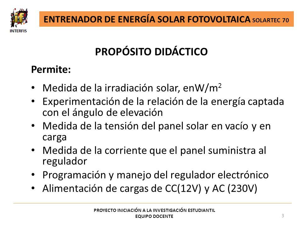 PROPÓSITO DIDÁCTICO PROYECTO INICIACIÓN A LA INVESTIGACIÓN ESTUDIANTIL EQUIPO DOCENTE 3 Permite: Medida de la irradiación solar, enW/m 2 Experimentaci