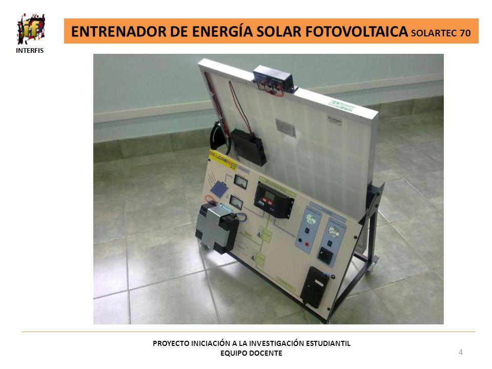 PROYECTO INICIACIÓN A LA INVESTIGACIÓN ESTUDIANTIL EQUIPO DOCENTE 4 ENTRENADOR DE ENERGÍA SOLAR FOTOVOLTAICA SOLARTEC 70