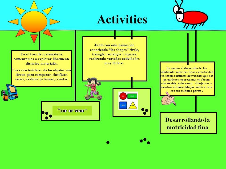 Activities En el área de matemáticas, comenzamos a explorar libremente distintos materiales. Las características de los objetos nos sirven para compar