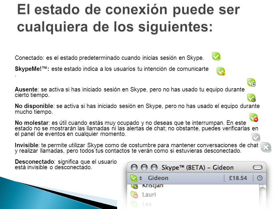 Conectado: es el estado predeterminado cuando inicias sesión en Skype. SkypeMe!: este estado indica a los usuarios tu intención de comunicarte. Ausent
