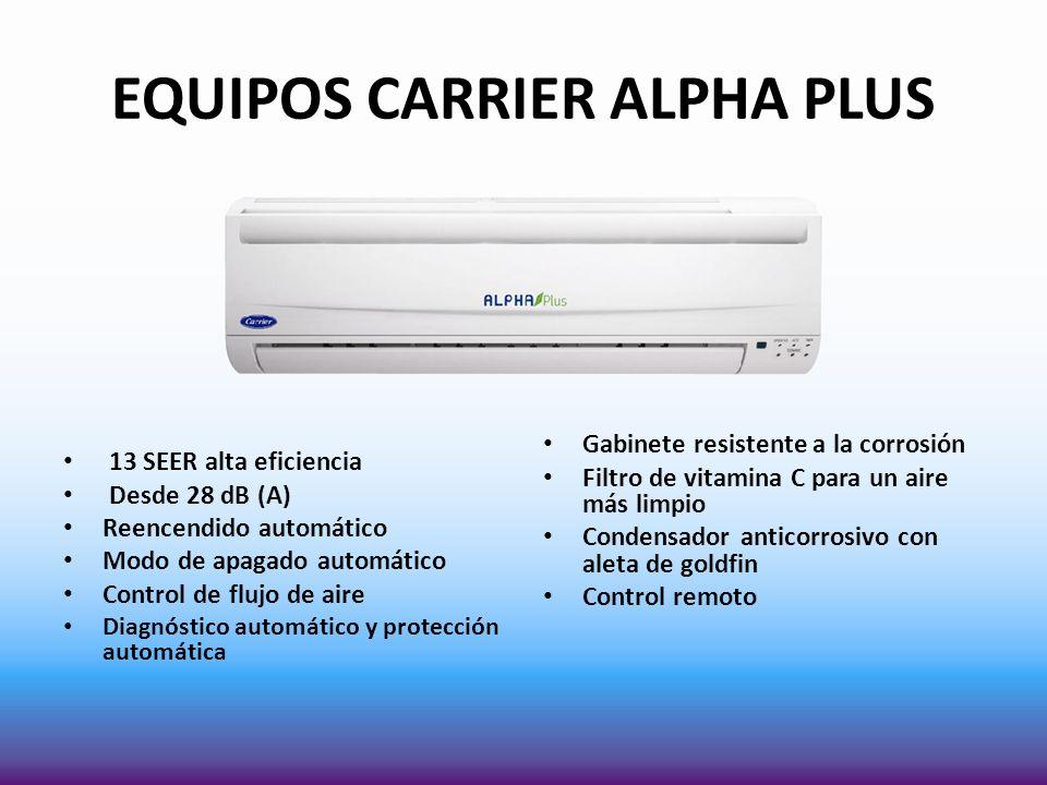 EQUIPOS CARRIER ALPHA PLUS 13 SEER alta eficiencia Desde 28 dB (A) Reencendido automático Modo de apagado automático Control de flujo de aire Diagnóst