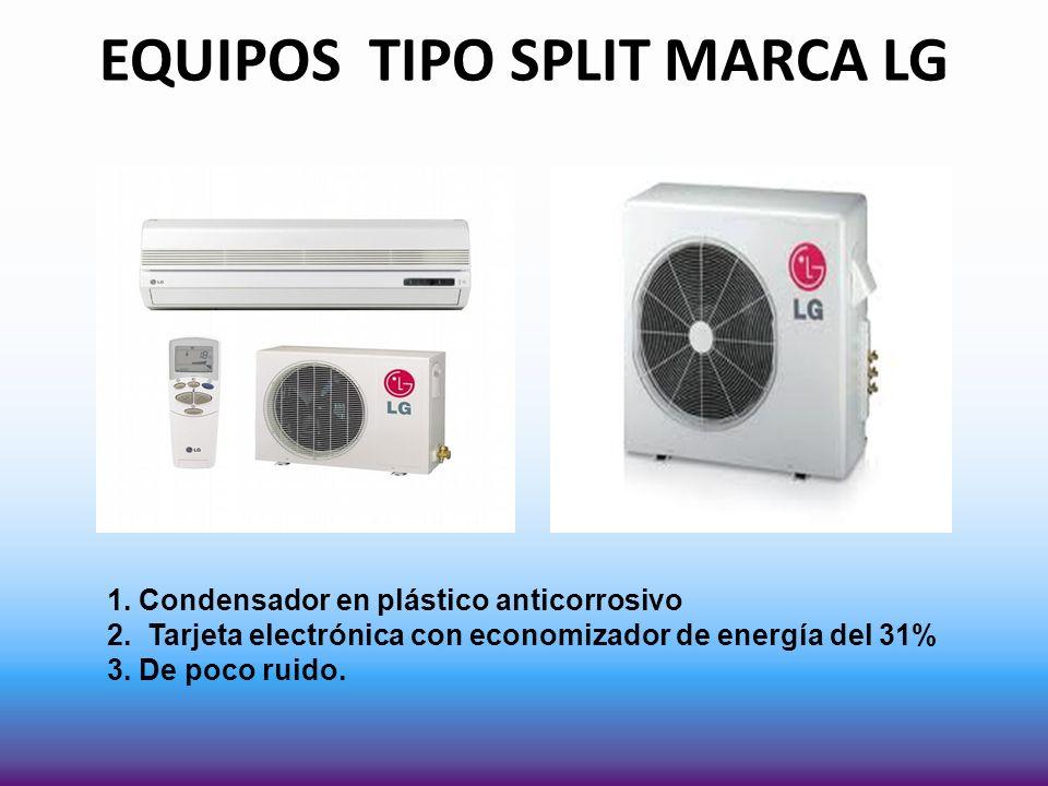 EQUIPOS TIPO SPLIT MARCA LG 1. Condensador en plástico anticorrosivo 2. Tarjeta electrónica con economizador de energía del 31% 3. De poco ruido.