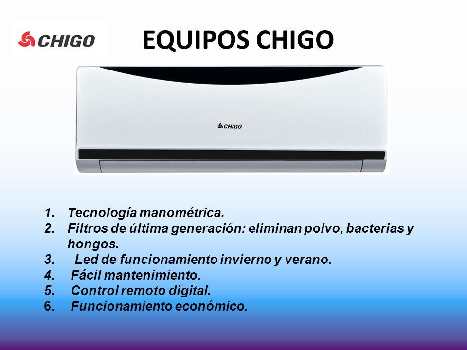 EQUIPOS CHIGO 1.Tecnología manométrica. 2.Filtros de última generación: eliminan polvo, bacterias y hongos. 3. Led de funcionamiento invierno y verano