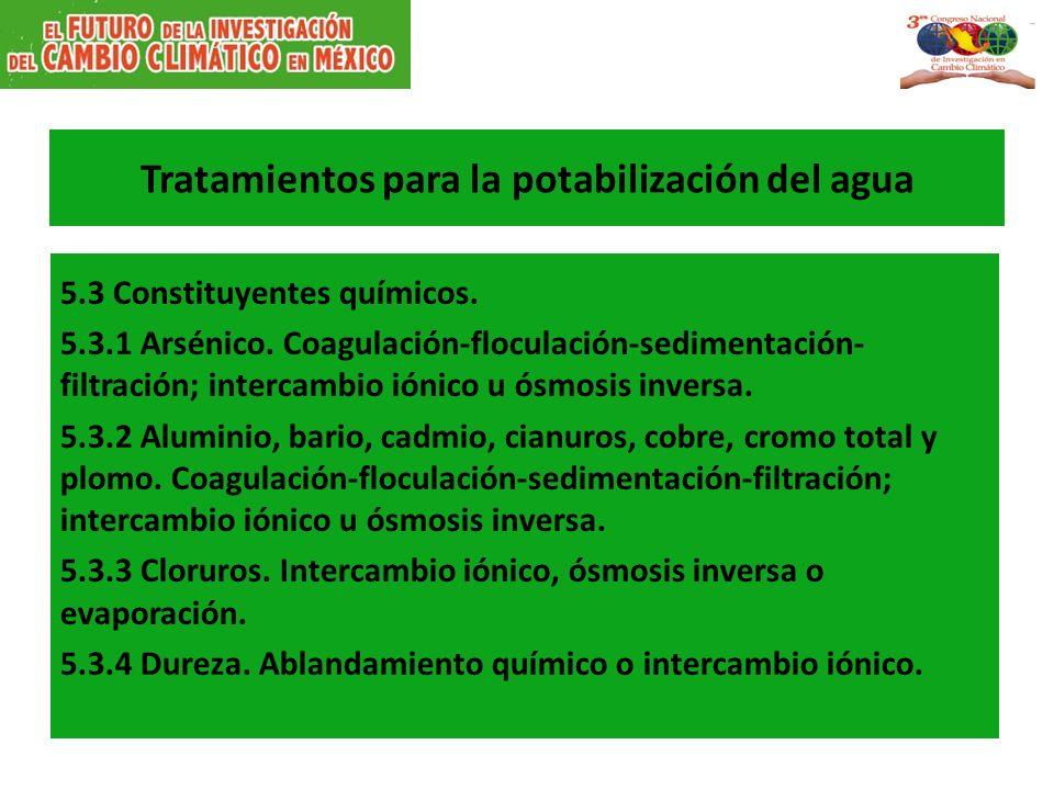 Tratamientos para la potabilización del agua 5.3 Constituyentes químicos.