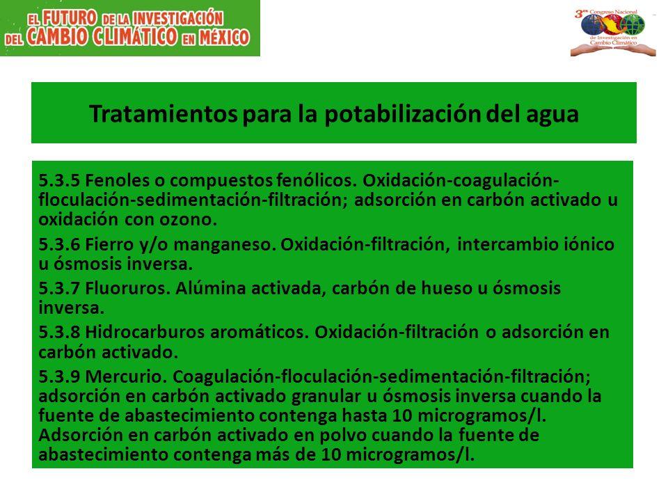 Tratamientos para la potabilización del agua 5.3.5 Fenoles o compuestos fenólicos.