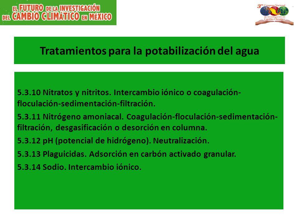 Tratamientos para la potabilización del agua 5.3.10 Nitratos y nitritos.