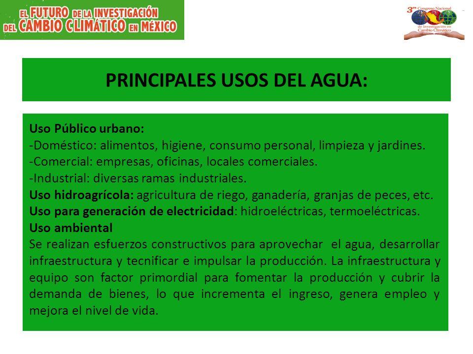 PRINCIPALES USOS DEL AGUA: Uso Público urbano: -Doméstico: alimentos, higiene, consumo personal, limpieza y jardines.