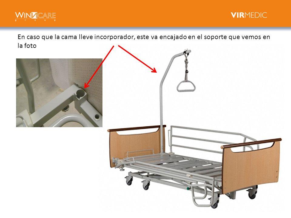 En caso que la cama lleve incorporador, este va encajado en el soporte que vemos en la foto