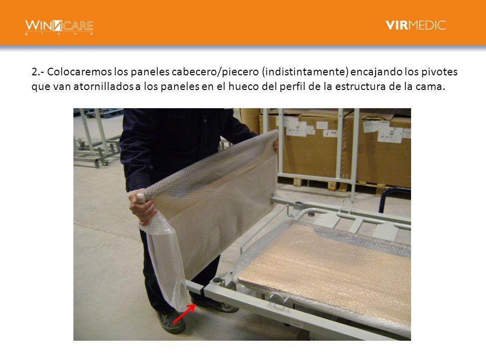 2.- Colocaremos los paneles cabecero/piecero (indistintamente) encajando los pivotes que van atornillados a los paneles en el hueco del perfil de la estructura de la cama.