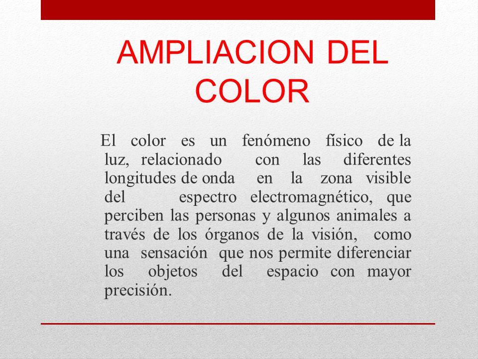 AMPLIACION DEL COLOR El color es un fenómeno físico de la luz, relacionado con las diferentes longitudes de onda en la zona visible del espectro elect