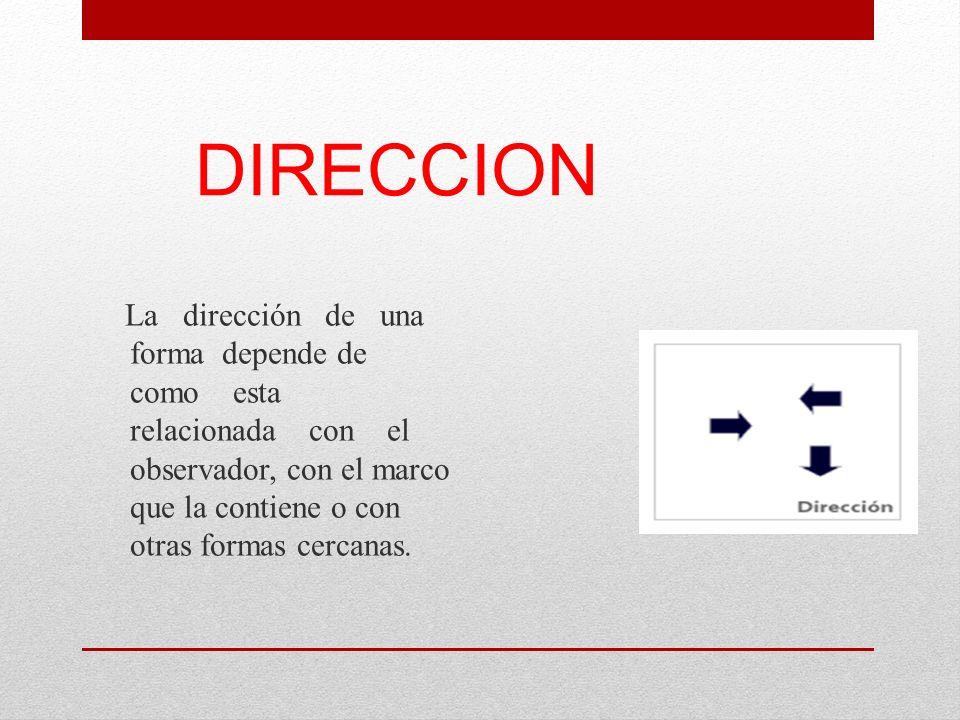 DIRECCION La dirección de una forma depende de como esta relacionada con el observador, con el marco que la contiene o con otras formas cercanas.