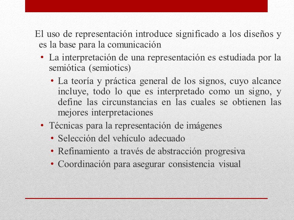 El uso de representación introduce significado a los diseños y es la base para la comunicación La interpretación de una representación es estudiada po