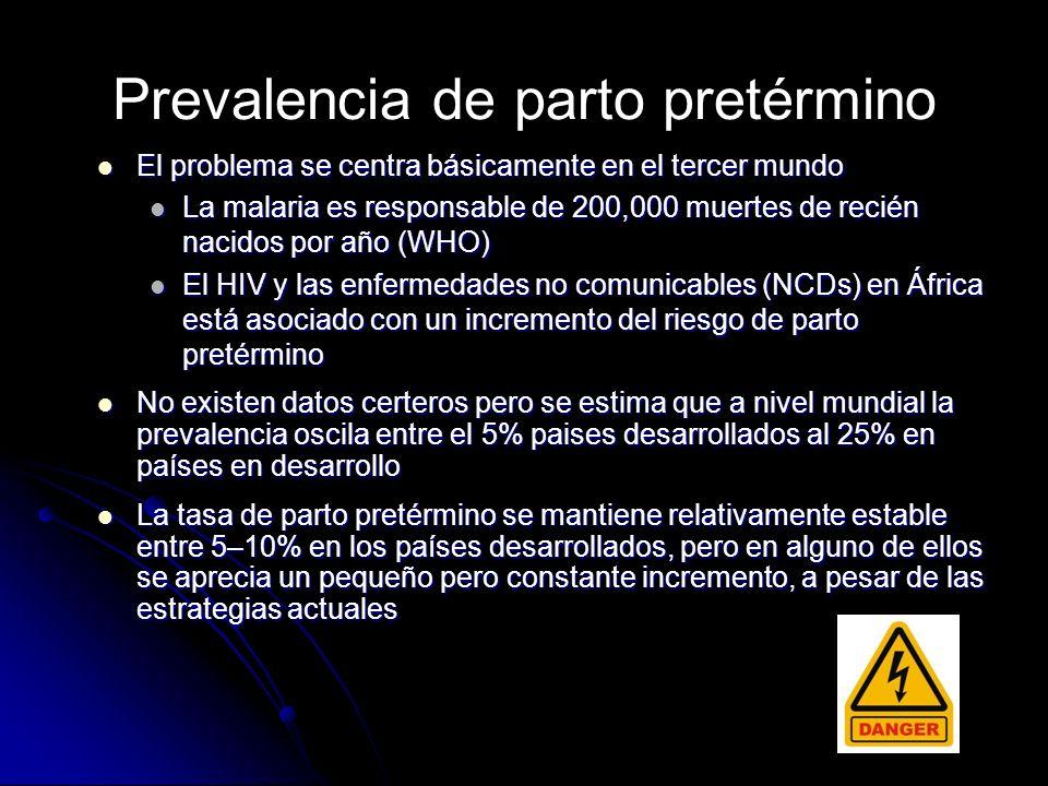 El parto pretérmino es la causa más importante de mortalidad perinatal 0 100 200 300 400 500 600 700 800 24 26283032 34 36 Weeks gestation Perinatal mortality (per 1000 total births)