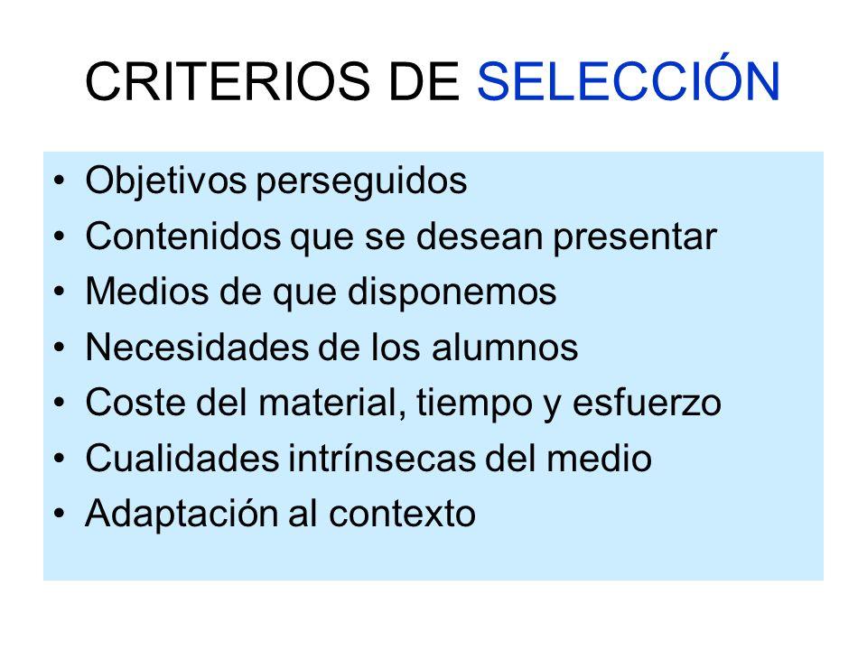 TIPOS DE MEDIOS MEDIOS ELABORADOS POR UNO MISMO MEDIOS DISEÑADOS POR PROFESIONALES MEDIOS TRADICIONALES MEDIOS AUDIOVISUALES NUEVAS TECNOLOGÍAS