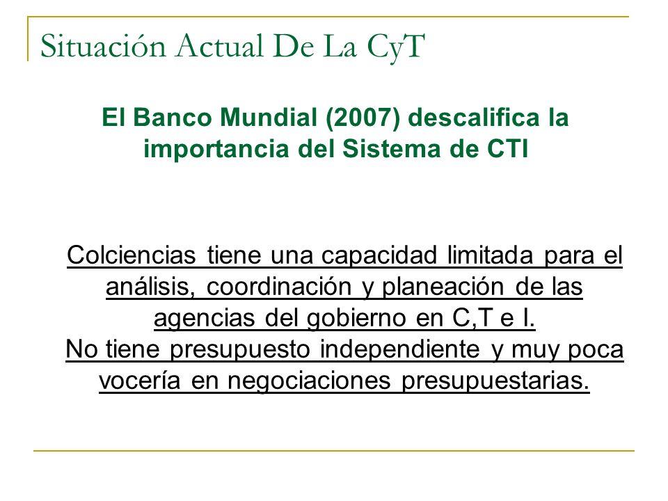 Situación Actual De La CyT Colciencias tiene una capacidad limitada para el análisis, coordinación y planeación de las agencias del gobierno en C,T e I.