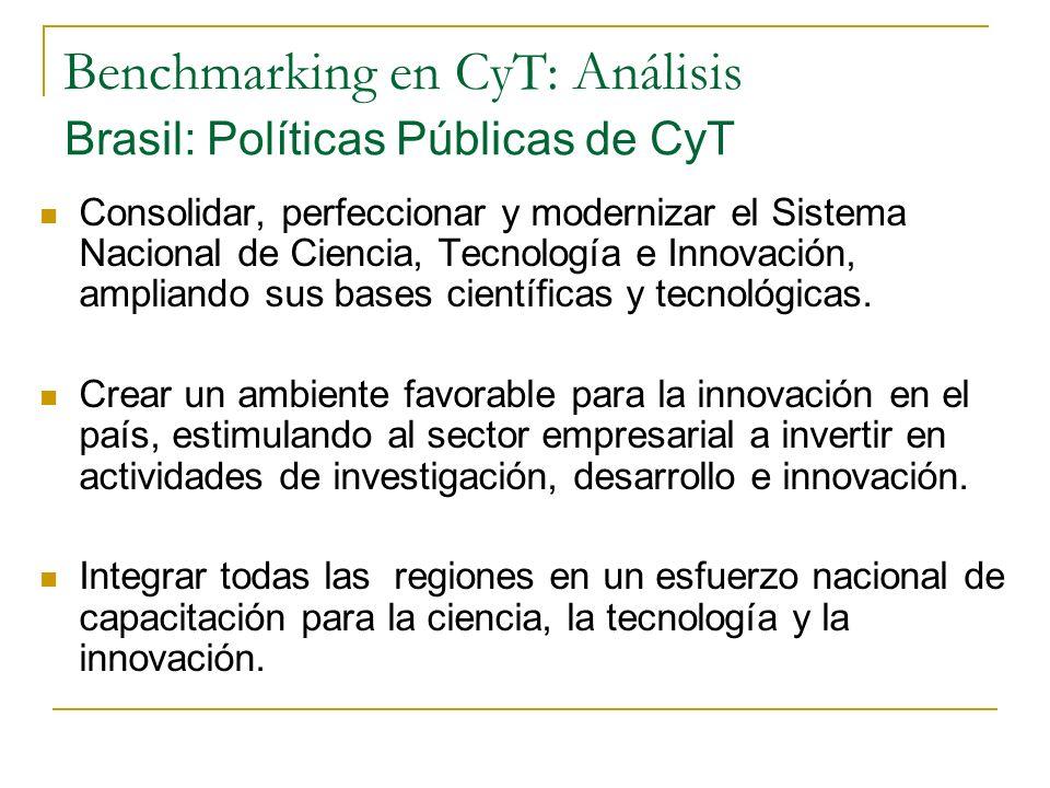 Benchmarking en CyT: Análisis Brasil: Políticas Públicas de CyT Consolidar, perfeccionar y modernizar el Sistema Nacional de Ciencia, Tecnología e Innovación, ampliando sus bases científicas y tecnológicas.