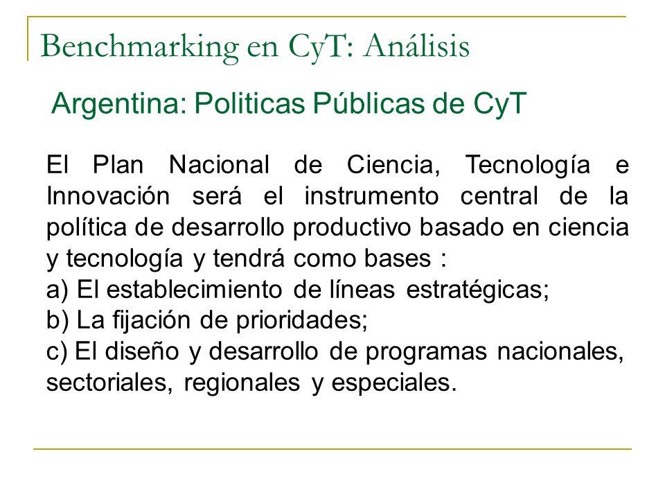 Benchmarking en CyT: Análisis Argentina: Politicas Públicas de CyT El Plan Nacional de Ciencia, Tecnología e Innovación será el instrumento central de la política de desarrollo productivo basado en ciencia y tecnología y tendrá como bases : a) El establecimiento de líneas estratégicas; b) La fijación de prioridades; c) El diseño y desarrollo de programas nacionales, sectoriales, regionales y especiales.