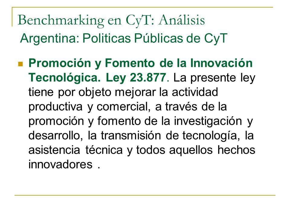 Benchmarking en CyT: Análisis Promoción y Fomento de la Innovación Tecnológica.