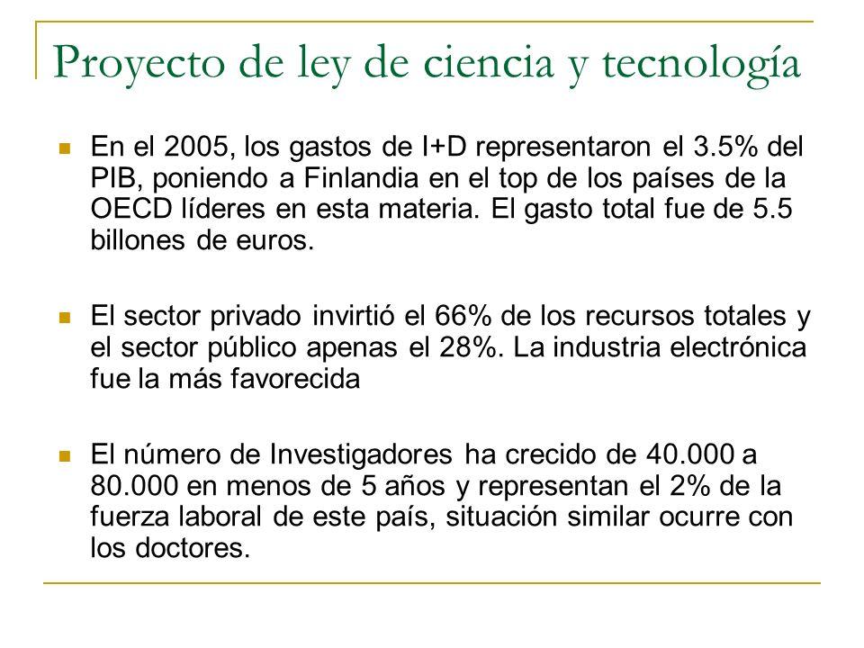 Proyecto de ley de ciencia y tecnología En el 2005, los gastos de I+D representaron el 3.5% del PIB, poniendo a Finlandia en el top de los países de la OECD líderes en esta materia.