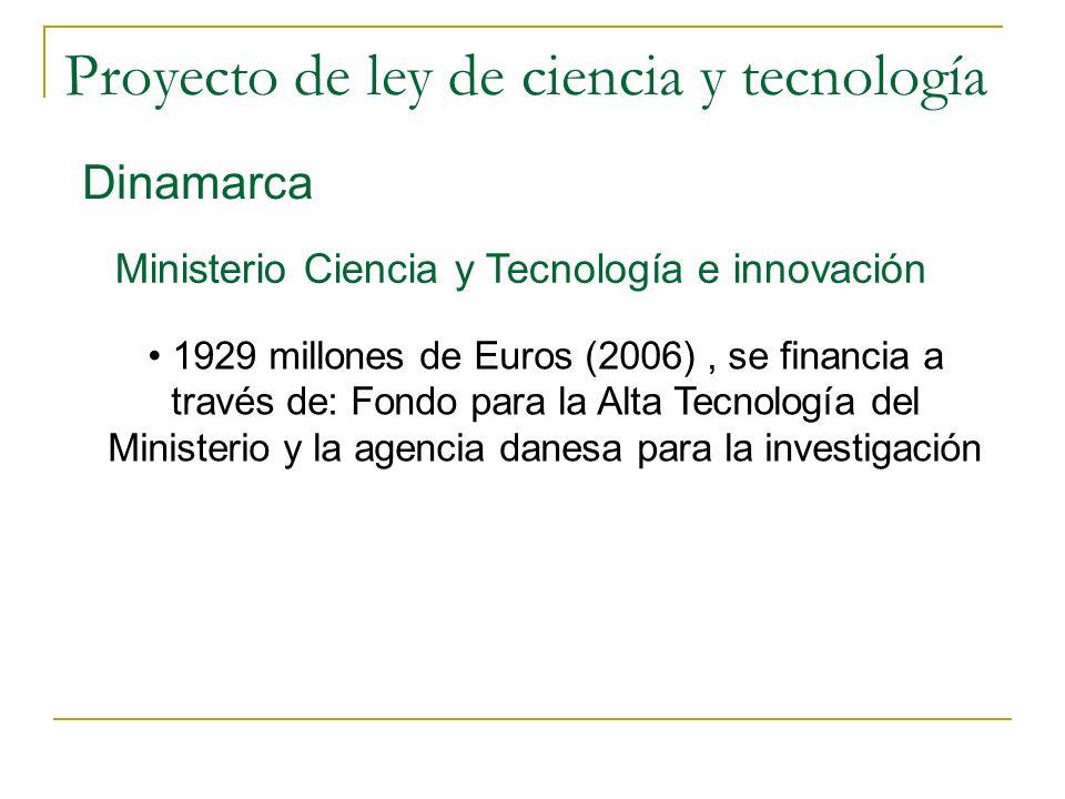 Proyecto de ley de ciencia y tecnología Dinamarca Ministerio Ciencia y Tecnología e innovación 1929 millones de Euros (2006), se financia a través de: Fondo para la Alta Tecnología del Ministerio y la agencia danesa para la investigación