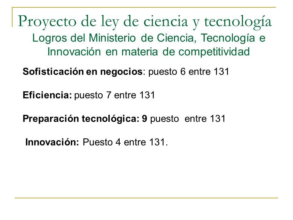 Proyecto de ley de ciencia y tecnología Logros del Ministerio de Ciencia, Tecnología e Innovación en materia de competitividad Sofisticación en negocios: puesto 6 entre 131 Eficiencia: puesto 7 entre 131 Preparación tecnológica: 9 puesto entre 131 Innovación: Puesto 4 entre 131.