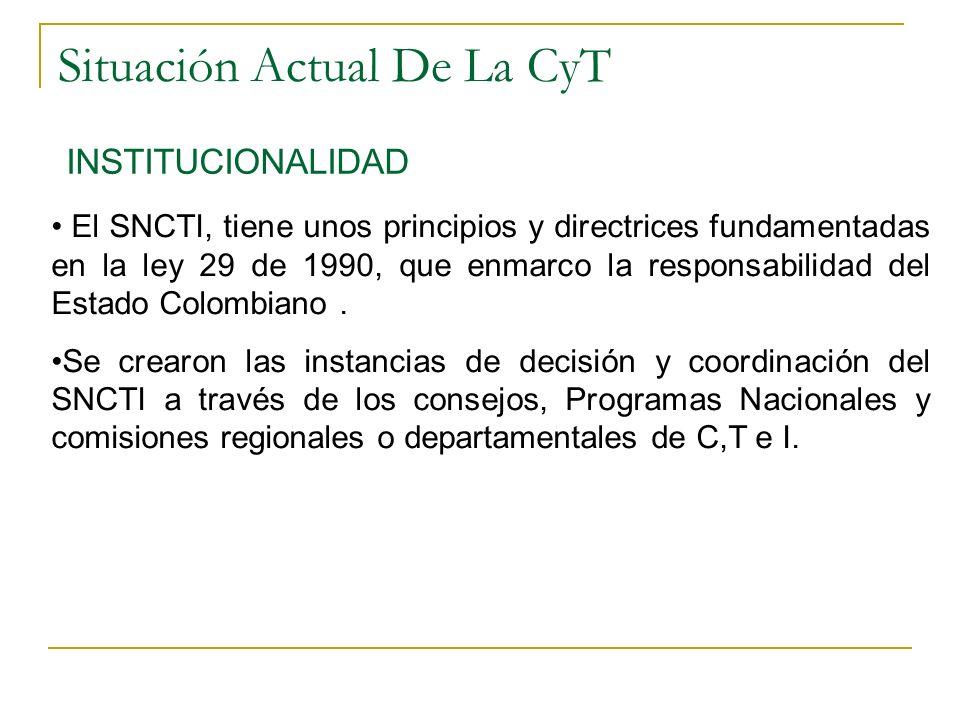 Situación Actual De La CyT INSTITUCIONALIDAD El SNCTI, tiene unos principios y directrices fundamentadas en la ley 29 de 1990, que enmarco la responsabilidad del Estado Colombiano.