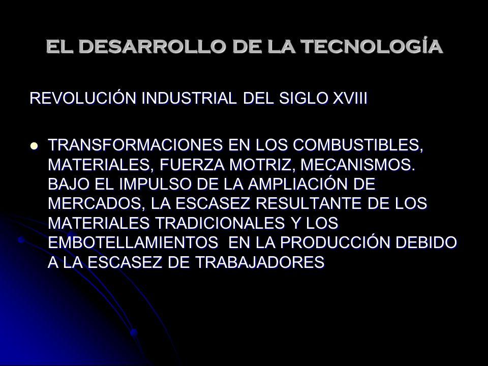 EL DESARROLLO DE LA TECNOLOGÍA REVOLUCIÓN INDUSTRIAL DEL SIGLO XVIII TRANSFORMACIONES EN LOS COMBUSTIBLES, MATERIALES, FUERZA MOTRIZ, MECANISMOS. BAJO