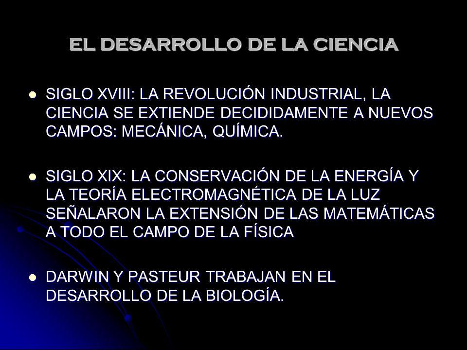 EL DESARROLLO DE LA CIENCIA SIGLO XVIII: LA REVOLUCIÓN INDUSTRIAL, LA CIENCIA SE EXTIENDE DECIDIDAMENTE A NUEVOS CAMPOS: MECÁNICA, QUÍMICA. SIGLO XVII