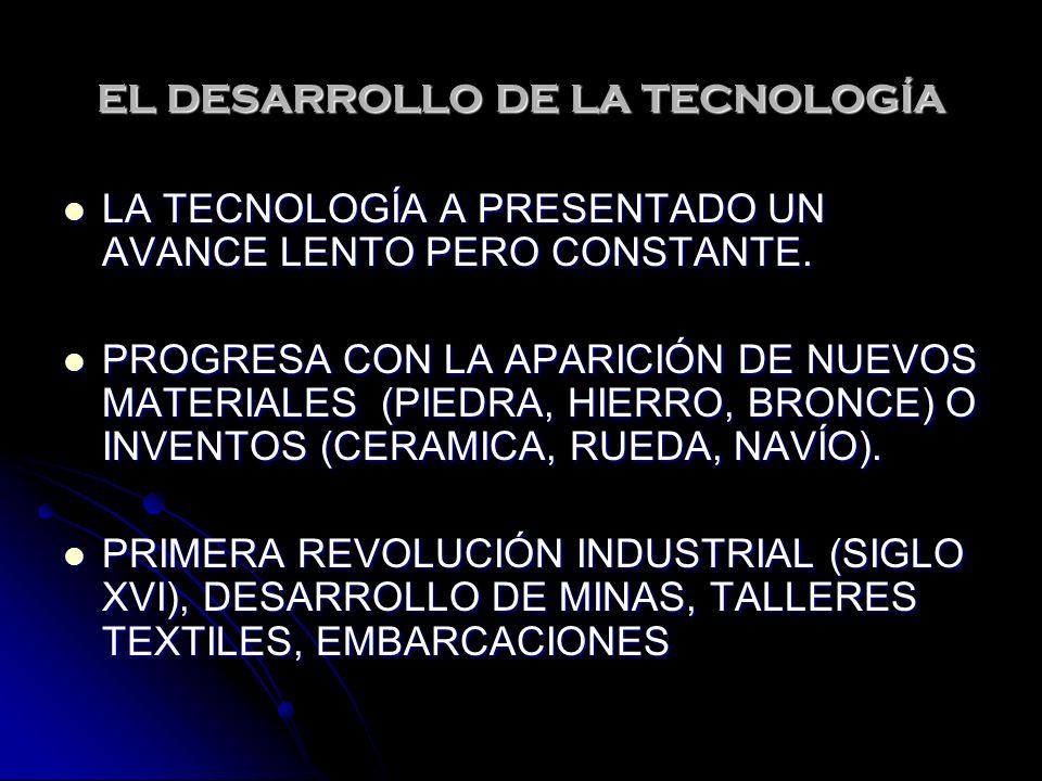 EL DESARROLLO DE LA TECNOLOGÍA LA TECNOLOGÍA A PRESENTADO UN AVANCE LENTO PERO CONSTANTE.
