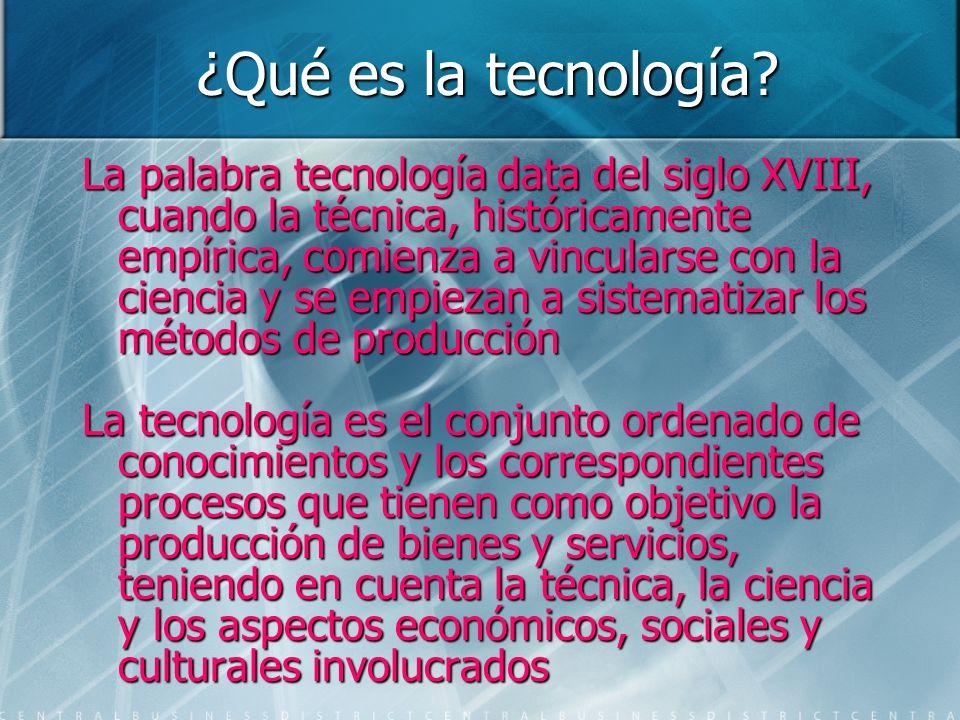 ¿Qué es la tecnología? La palabra tecnología data del siglo XVIII, cuando la técnica, históricamente empírica, comienza a vincularse con la ciencia y