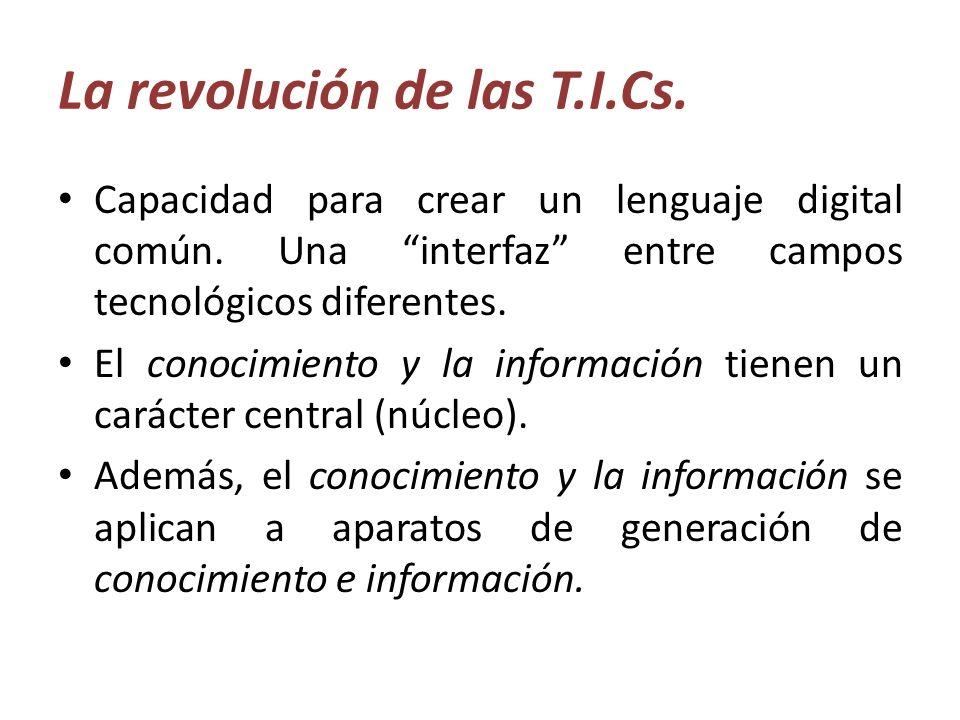 La revolución de las T.I.Cs. Capacidad para crear un lenguaje digital común. Una interfaz entre campos tecnológicos diferentes. El conocimiento y la i