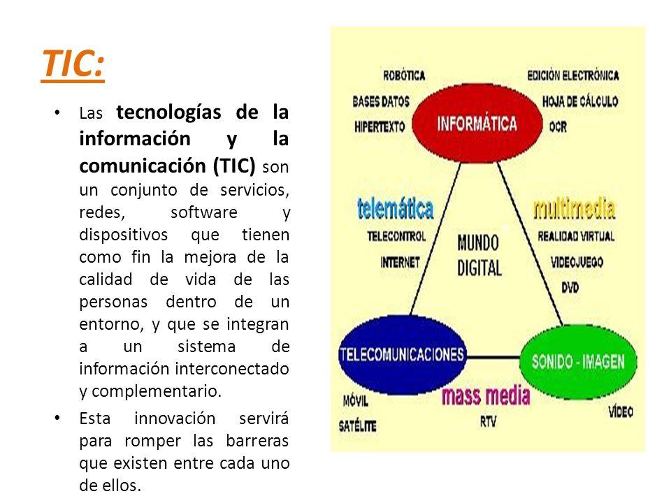 TIC: Las tecnologías de la información y la comunicación (TIC) son un conjunto de servicios, redes, software y dispositivos que tienen como fin la mej