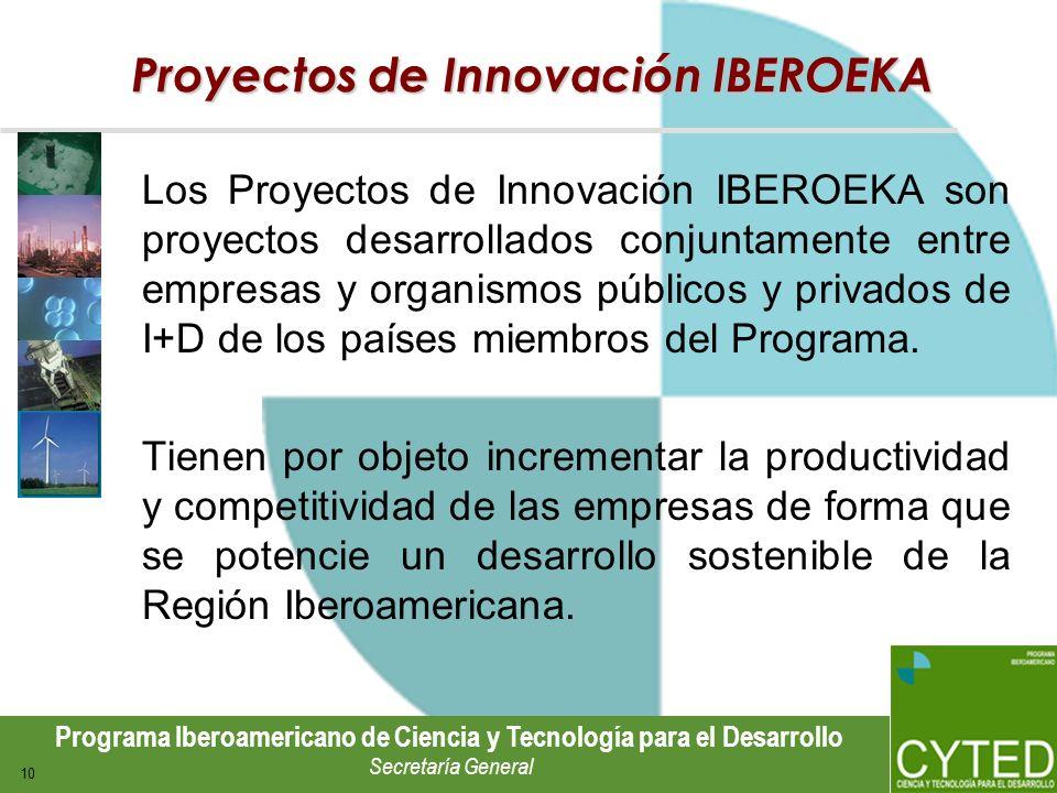 Programa Iberoamericano de Ciencia y Tecnología para el Desarrollo Secretaría General 10 Proyectos de Innovación IBEROEKA Los Proyectos de Innovación