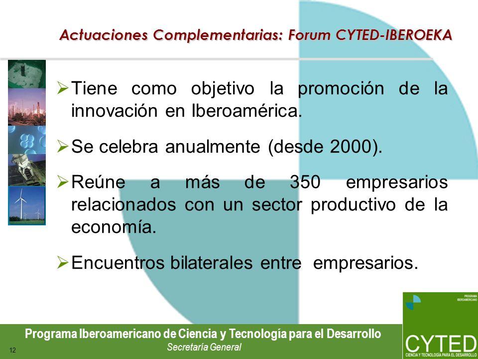 Programa Iberoamericano de Ciencia y Tecnología para el Desarrollo Secretaría General 12 Actuaciones Complementarias: Forum CYTED-IBEROEKA Tiene como