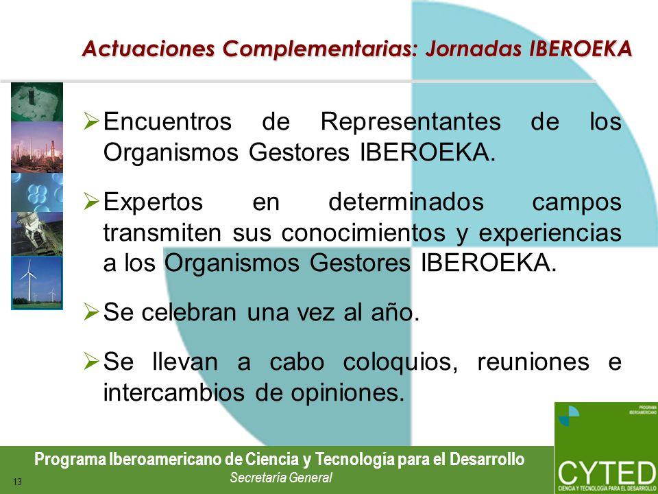 Programa Iberoamericano de Ciencia y Tecnología para el Desarrollo Secretaría General 13 Actuaciones Complementarias: Jornadas IBEROEKA Encuentros de
