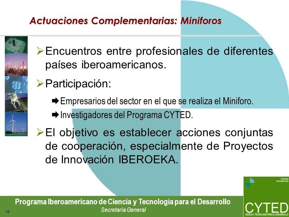 Programa Iberoamericano de Ciencia y Tecnología para el Desarrollo Secretaría General 14 Actuaciones Complementarias: Miniforos Encuentros entre profe