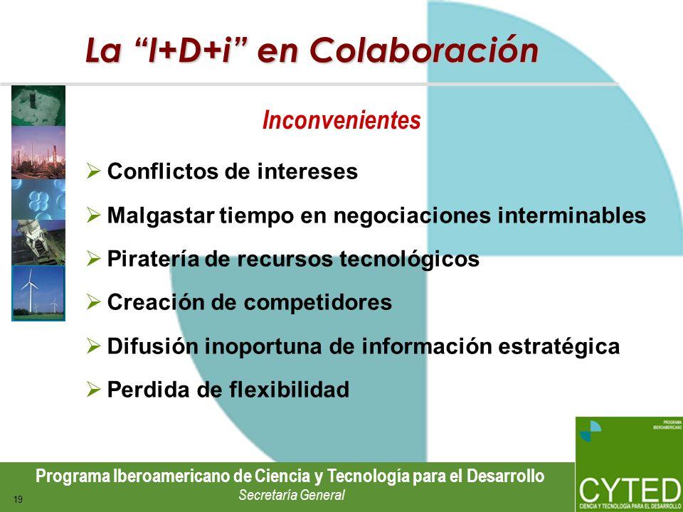 Programa Iberoamericano de Ciencia y Tecnología para el Desarrollo Secretaría General 19 La I+D+i en Colaboración Conflictos de intereses Malgastar ti