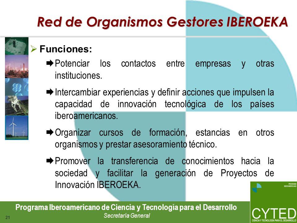 Programa Iberoamericano de Ciencia y Tecnología para el Desarrollo Secretaría General 21 Red de Organismos Gestores IBEROEKA Funciones: Potenciar los
