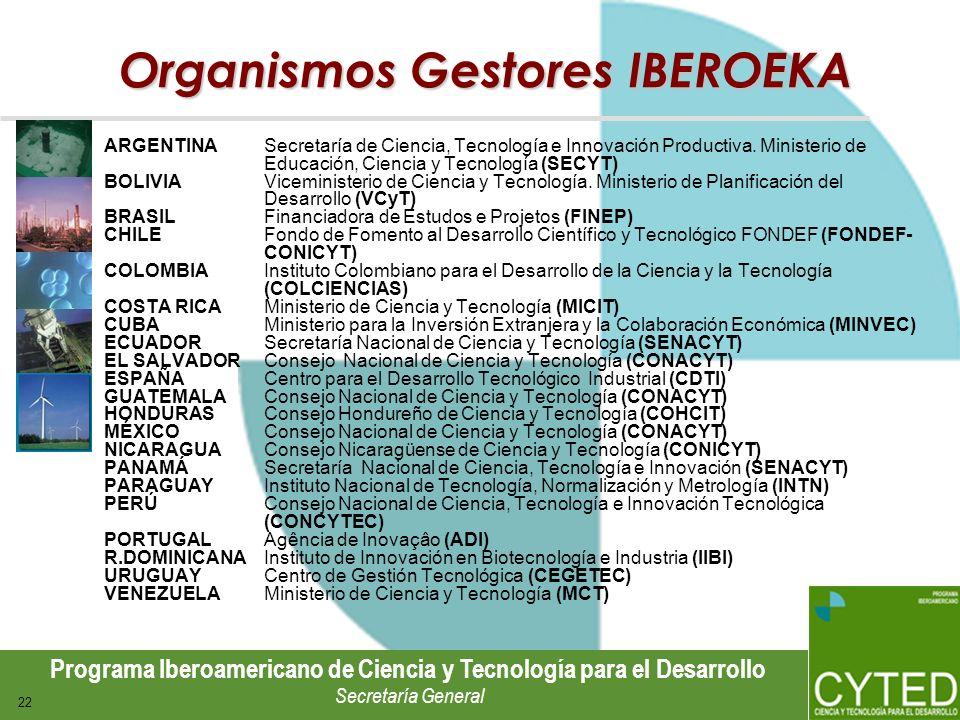 Programa Iberoamericano de Ciencia y Tecnología para el Desarrollo Secretaría General 22 Organismos Gestores IBEROEKA ARGENTINA Secretaría de Ciencia,