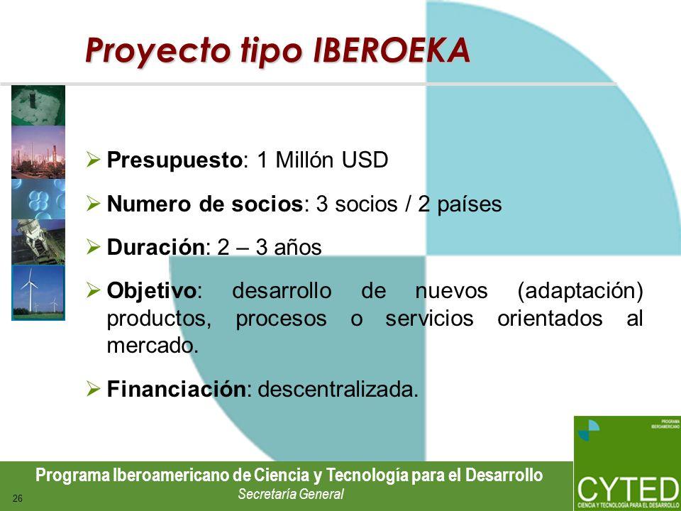 Programa Iberoamericano de Ciencia y Tecnología para el Desarrollo Secretaría General 26 Proyecto tipo IBEROEKA Presupuesto: 1 Millón USD Numero de so