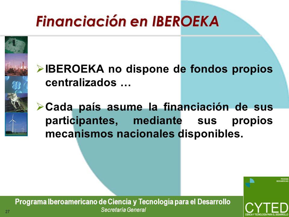 Programa Iberoamericano de Ciencia y Tecnología para el Desarrollo Secretaría General 27 Financiación en IBEROEKA IBEROEKA no dispone de fondos propio