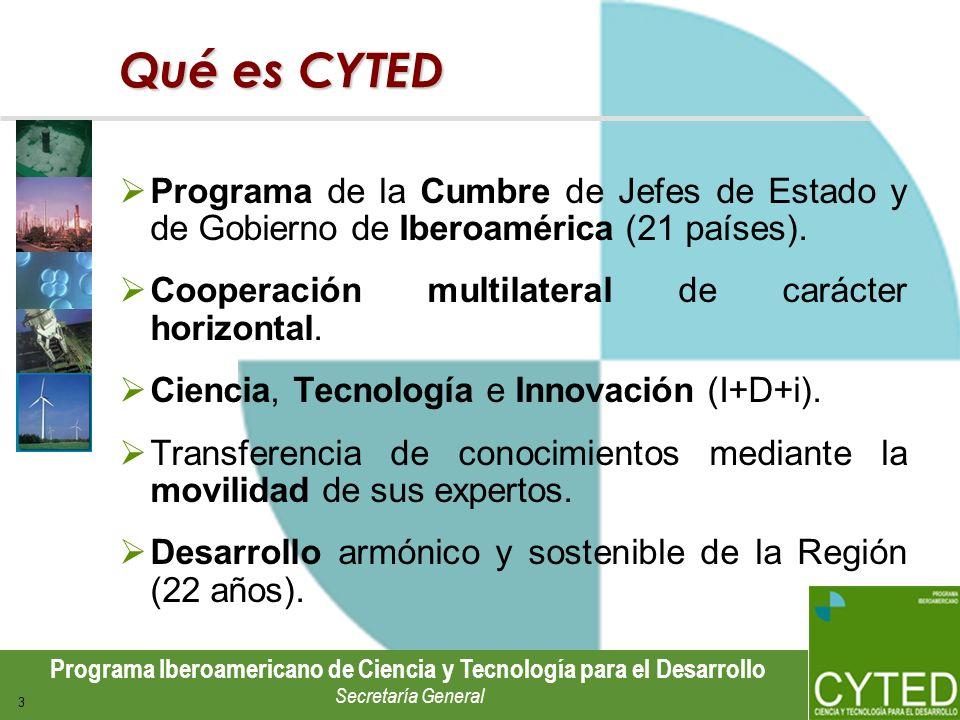 Programa Iberoamericano de Ciencia y Tecnología para el Desarrollo Secretaría General 3 Qué es CYTED Programa de la Cumbre de Jefes de Estado y de Gob