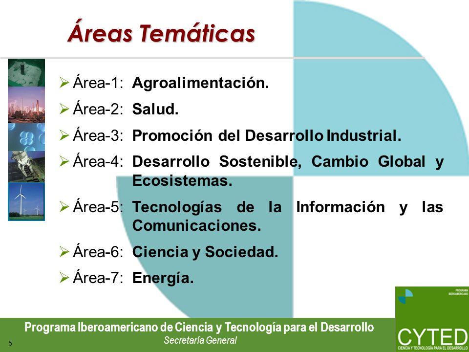Programa Iberoamericano de Ciencia y Tecnología para el Desarrollo Secretaría General 5 Áreas Temáticas Área-1:Agroalimentación. Área-2: Salud. Área-3