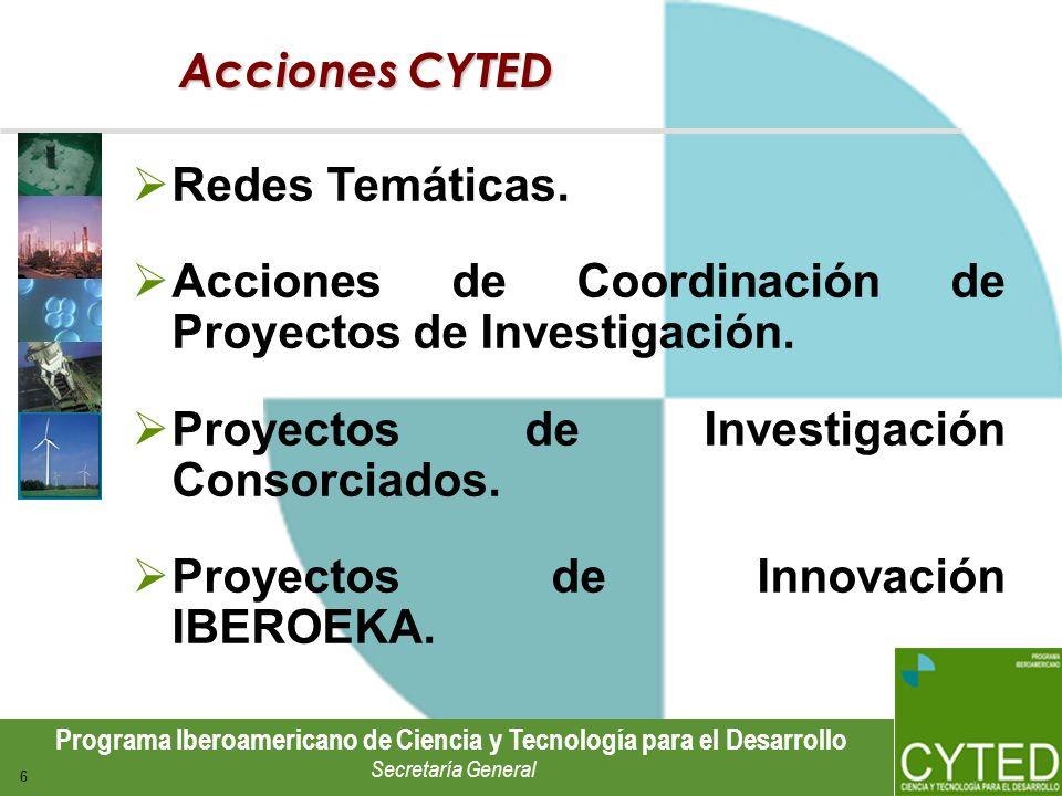 Programa Iberoamericano de Ciencia y Tecnología para el Desarrollo Secretaría General 6 Acciones CYTED Redes Temáticas. Acciones de Coordinación de Pr