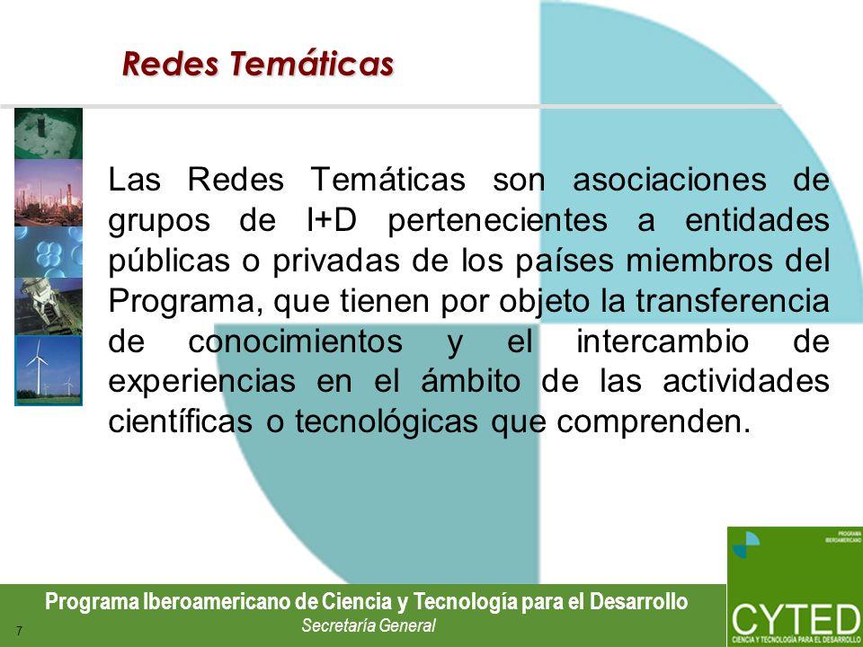 Programa Iberoamericano de Ciencia y Tecnología para el Desarrollo Secretaría General 7 Redes Temáticas Las Redes Temáticas son asociaciones de grupos