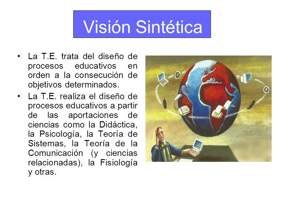 Visión Sintética La T.E. trata del diseño de procesos educativos en orden a la consecución de objetivos determinados. La T.E. realiza el diseño de pro