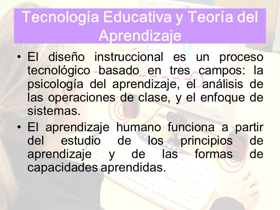 Tecnología Educativa y Teoría del Aprendizaje El diseño instruccional es un proceso tecnológico basado en tres campos: la psicología del aprendizaje,